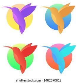 Vector hummingbird's logo set. Isolated colibri icons. Exotic little birds.