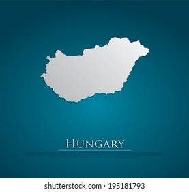vector Hungary Map card paper on blue background, high detailed