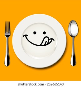 Vector of hungry face draw on white plate with spoon and fork on yellow background