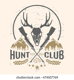 Vector hunting club emblem with grunge texture and mountain landscape.
