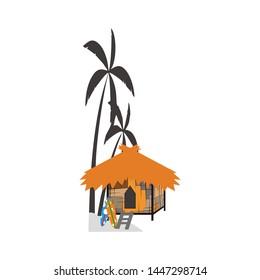 vector hut logo design on the beach