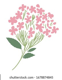 Vector hydrangea flowers branch. Can be used as print, postcard, invitation, greeting card, packaging design, textile, stickers, tattoo, label, poster, and so on.