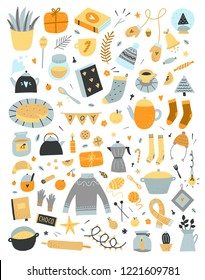 Vector Hygge elements set on white background. Cute scandinavian lifestyle cozy objects for home and winter holidays celebration. Big doodle collection with interior symbols and kitchen equipment