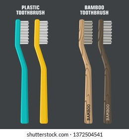 Vector hygiene icon set of toothbrushes. Plastic and bamboo toothbrushes. Illustration of wooden bamboo toothbrushes in flat minimalism line style.