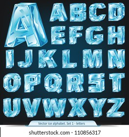 Vector ice alphabet. Set 1 - letters
