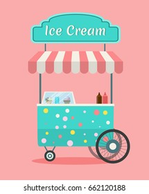 Vector Ice cream cart . Side view of a commercial decorated street food kiosk Modern flat style illustration