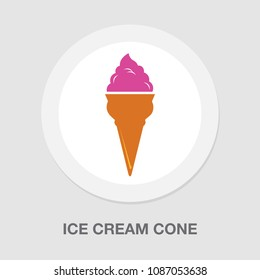 vector ice cream cone, dessert illustration - frozen