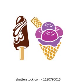 vector ice cream cone. summer sweet dessert illustration, delicious ice-cream snack