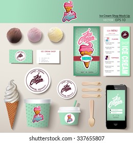 Vector ice cream corporate identity template design set. Branding mock up.