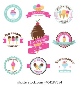 Vector ice cream stamps. Frozen sweets labels. Summer dessert shop design. Sorbet emblem. Premium quality. Parlor sign. Vanilla cone badge. Sorbet sticker. Waffle logo