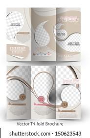 Vector Ice Cream Store Tri-Fold Mock up & Brochure Design