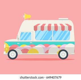 Vector Ice cream van. Side view of a commercial truck decorated by ice cream balls, stripy roof and music chimes. Modern flat style illustration