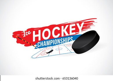 Vector of ice hockey championship badge and design elements.