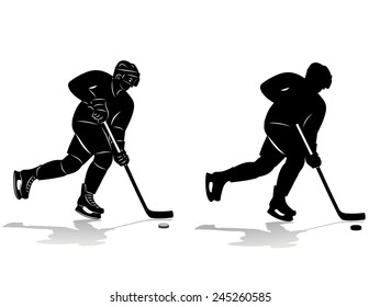 vector of ice hockey player silhouette, winter sports