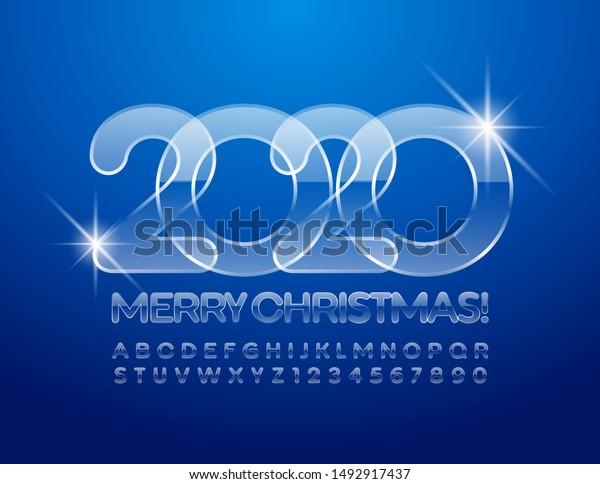 Magical Christmas On Ice 2020 Vector Ice Merry Christmas 2020 Greeting Stock Vector (Royalty