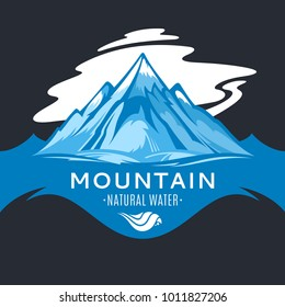 Vector ice mountain water logo or label