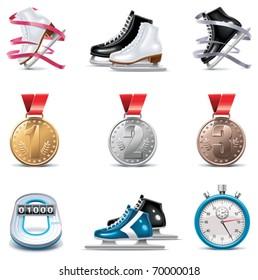 Vector ice skating icon set