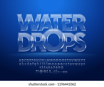 Vector Iced Water Drops text with 3D Font. Glass Alphabet Letters, Numbers and Symbols