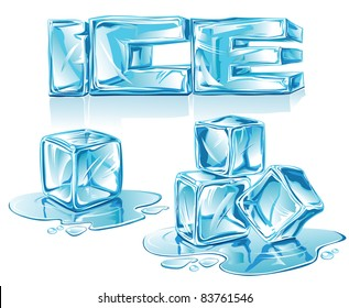 Vector ice-letters and ice-cubes on white background