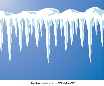 vector icicles and snow background for christmas, new year winter holiday illustrations.