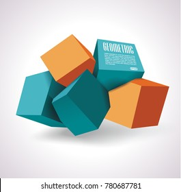 Vector icon of 3d cubes structure, over white background.