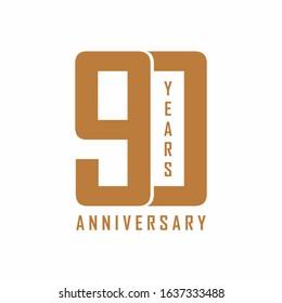 Vector icon of 90th anniversary, 90th birthday logo label. Vector illustration.