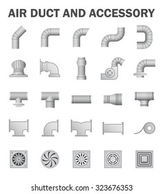 Vector icon of air duct pipe and pipe connector and fan for air conditioning or HVAC system.