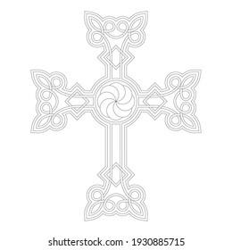 vector icon with ancient Armenian symbol Khachkar. Armenian cross stone for your project