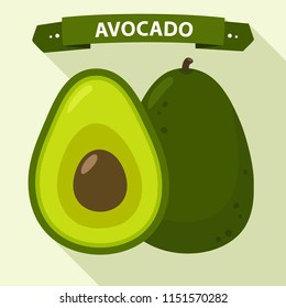 Vector icon of avocado. Avocado fruit in flat style.