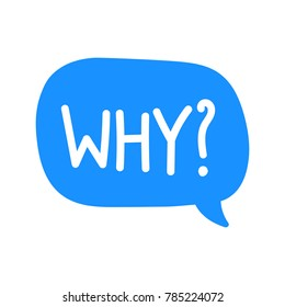 Why? Vector icon, badge illustration on white background.