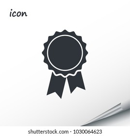 vector icon badge with ribbons on a wrapped silver sheet