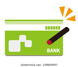 Vector icon for bankbook.Japanese stamp.