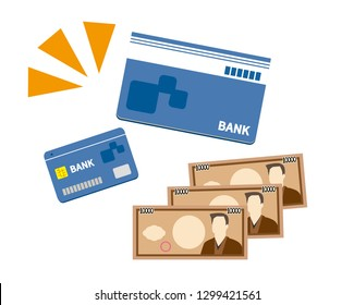 Vector icon for bankbook.Vector credit card. Business and finance. Japanese yen.
