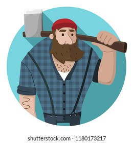 Vector icon of a bearded lumberjack with an ax in his hand. Logger in a flat style.