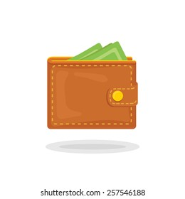 Vector icon of a beautiful wallet with money in trendy flat style