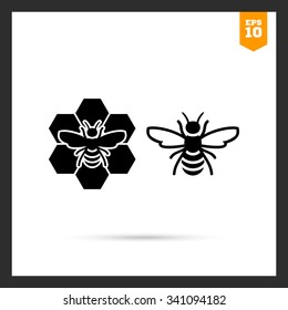 Vector icon of bee and bee sitting on comb