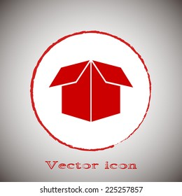 Vector icon box Red round button on a gray background
