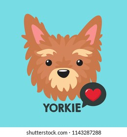 Vector icon of the breed dog Yorkshire Terrier.Yorkie Puppy clipart with a heart in a flat style. Text: Love Yorkie