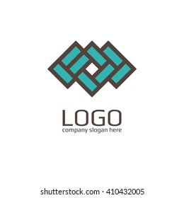 Vector of icon / Brick as a sign. Business icon for the company ceramic tiles / Brick / Hotel. This concept logo, label or badge for furniture shops / salons. Other companies. Vector illustration.