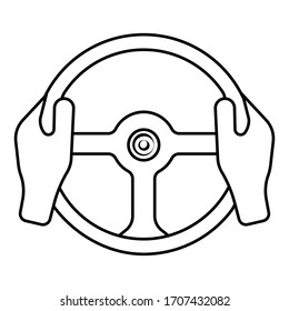 Vector icon of car steering wheel and driver's hands