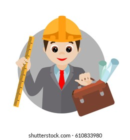 Vector icon. Cartoon engineer with drawings on white background. For postcards, board games and clothing