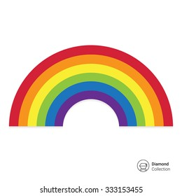 Vector icon of cartoon rainbow curve consisting of six colors