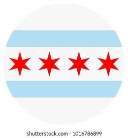 Vector icon Chicago flag. National round Chicago flag background