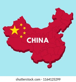 Vector icon of China map. A map in the form of a Chinese flag. Text: China.