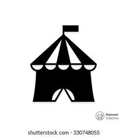 Vector icon of circus tent with flag on top
