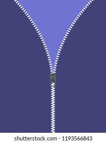 Vector icon closed and open zipper, fastener