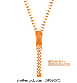 Vector icon closed and open zipper, fastener.