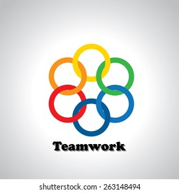 vector icon colorful rings interlocked - teamwork concept. This also represents unity, united people, friendship, partnership, close relationships, bonding
