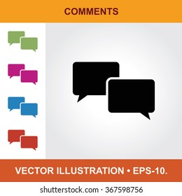 Vector Icon Of Comments With Title & Small Multicolored Icons. Eps-10.