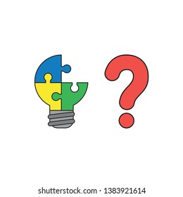 Vector icon concept of blue, yellow and green pieces light bulb puzzle missing piece with red question mark. Black outlines and colored.